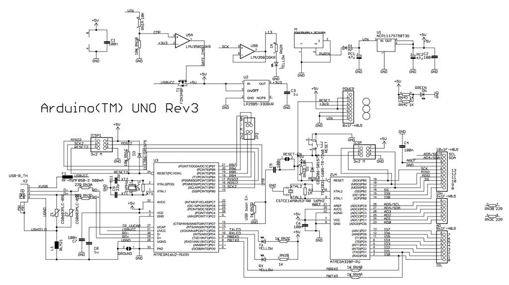 Схема Arduino UNO r3